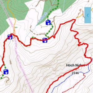 Elektronische Wanderkarte mit eingezeichneter Route in der Nähe des Säntis