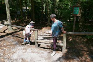 Wozu so ein Zaungeländer alles gut sein kann: Wald-Turnstange für Kinder!