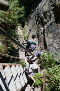 Ausgedehnte Treppenanlage im Elbsandstein-Gebirge