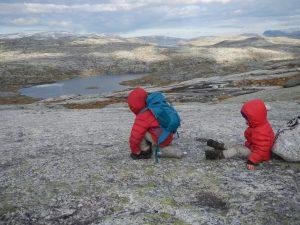 Kinder spielen in der weiten Natur Norwegens