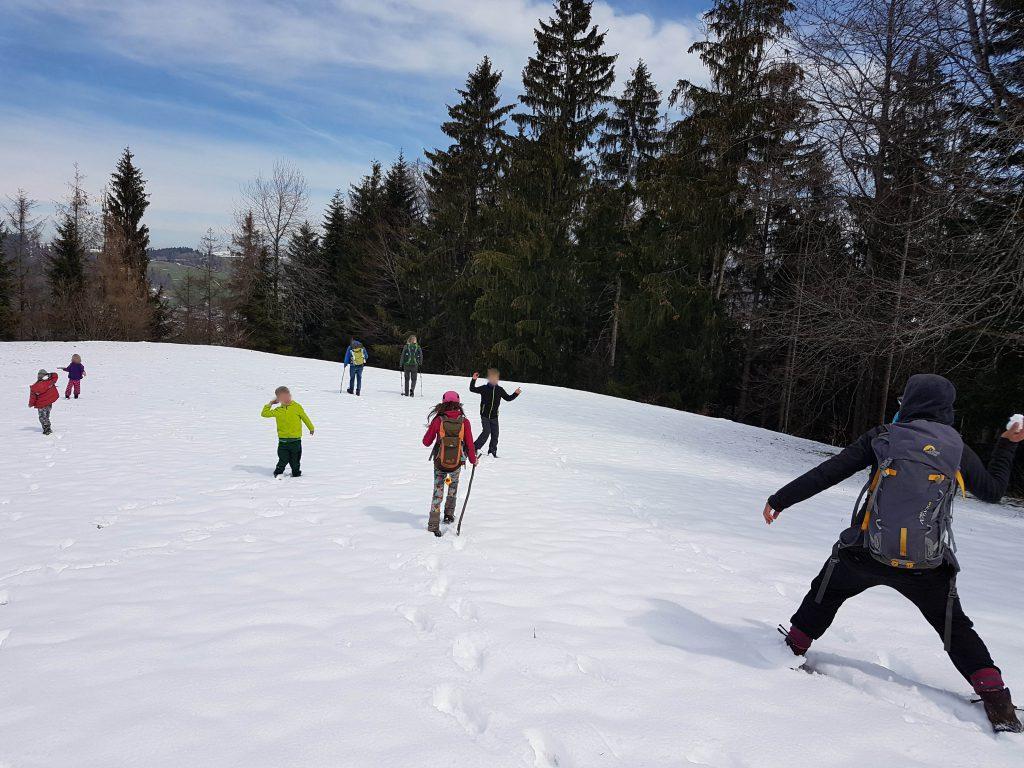 Eine verschneite Lichtung bietet Gelegenheit für eine spontane Schneeballschlacht