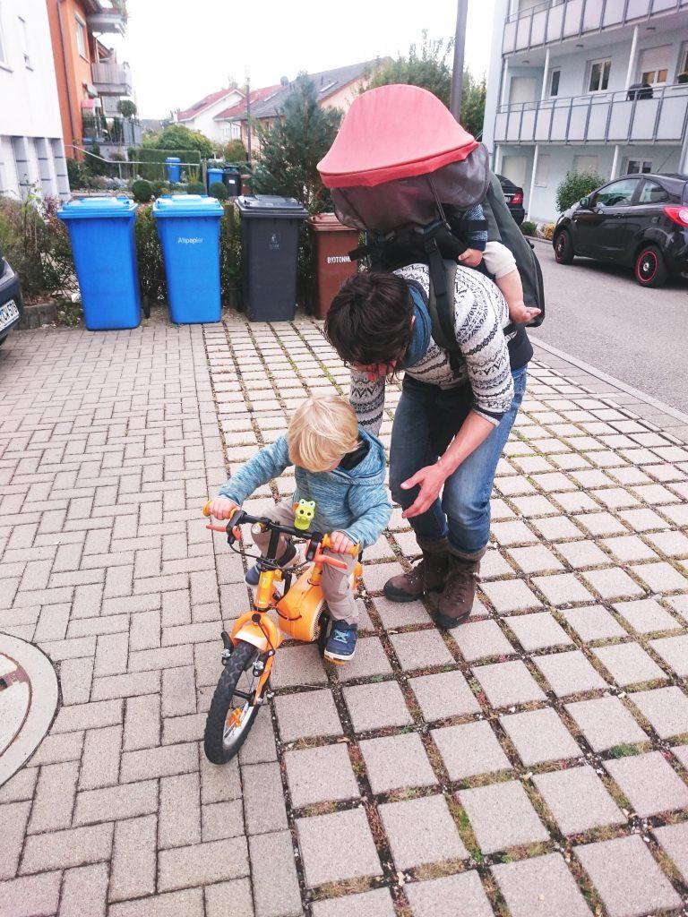 Erste Versuche mit dem eigenen Fahrrad